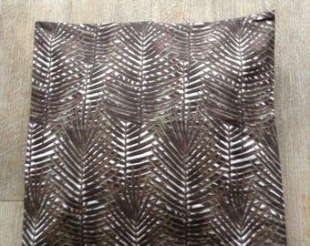 Cotton cover 40cm cushion square print khaki taupe leaves Brown