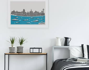Liverpool Skyline Print, Scouse Gift, City Print, Mid Century Travel Wall Art, Ferry Boats, River Mersey, Living Room Wall, Husband Gift