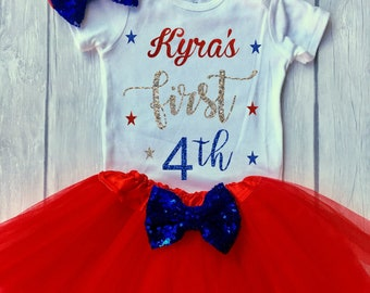 1st 4th of July outfit, first 4th of July, Girls 4th of July, Girls 4th of July outfits, Fourth of July outfit, baby girl outfit Personalize