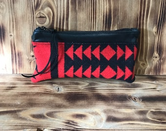 Leather Purse Pouch, Pendleton Wool Clutch, Glasses Case, Makeup Bag, Repurposed Leather, Black Pouch, Boho, Tribal, Purse Pouch, Coin Pouch