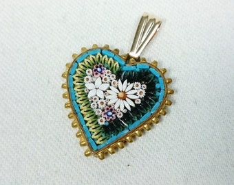 Heart Micro Mosaic Daisy Flower Pendant for Necklace, Italy, Grand Tour, Souvenir Jewelry