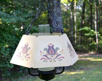 Vintage Chandelier Metal Tole Paint Thomas Industries Off White Floral Design Glass Chimney PanchosPorch