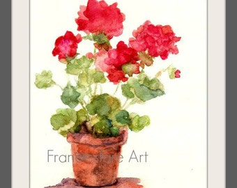 Original Watercolor Print Potted Geraniums  5x7 8x10 11x14 12x18 Still Life Impressionism Country Cottage Chic Home Decor Wall Art