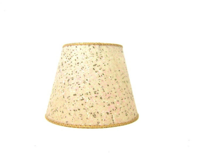 Small Vintage fiberglass lampshade Clip On mid century modern mod atomic retro Speckled Pink & Gold Lamp Shade
