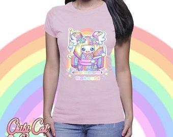 Rainbow Kokeshi doll tshirt -  harajuku kawaii fairy kei chibi geisha pop  japanese Women's T-shirt Top Tee Shirt