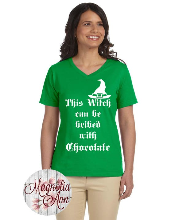 This Witch Can Be Bribed With Chocolate, Halloween, Women's Jersey V-Neck T-shirt Sizes Small-4X, Plus Size Clothing, Plus Size Halloween
