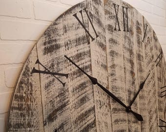 """Large Wall Clock 42"""", White with Black Undertones, solid wood, hand painted and distressed for a reclaimed barn wood look."""