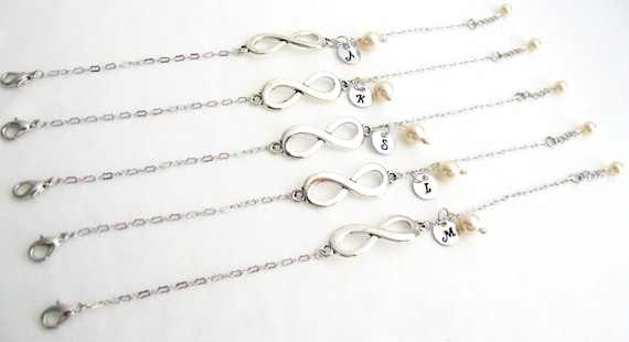 Infinity Initial Bracelet,Infinity  Bracelet Personalized Infinity Bracelet Set Of 5  Bridesmaid infinity Bracelet Free Shipping In USA