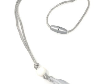 """Leboha """"Just Float"""" Kids Necklace for Sensory, 100% BPA Free Food Grade Silicone, Pendant Style (Silver/Marble White)"""