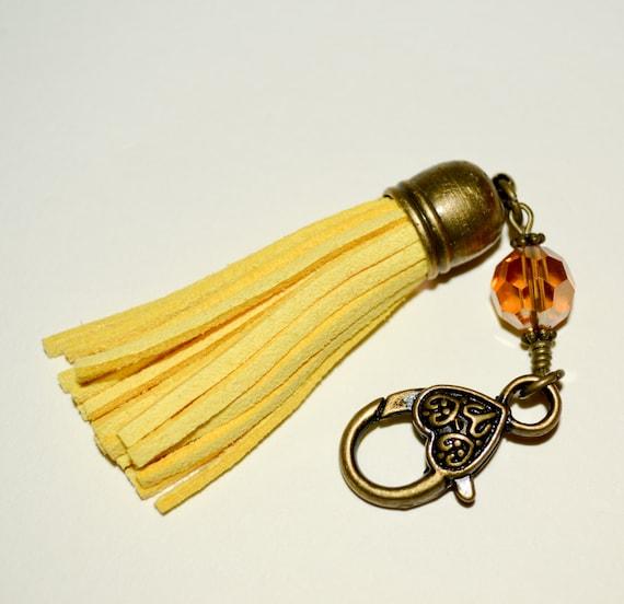 Zipper Charm, Boho Handbag Charm, Yellow Suede, Keychain Clip, Purse Charm, Tassel Keyring, Yellow Tassel, Handbag Charm, Purse Accessories