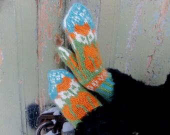 Wool Mittens, Wool Mittens With Fox, Women's Mittens, Funny Fox Mittens, Warm Mittens, Knit Winter Gloves, fox gloves