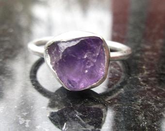 Raw Amethyst Ring, Size 7,Raw Stone Ring, Raw Crystal Ring, Sterling Silver,February Birthstone, Purple Gemstone, Amethyst Silver Ring