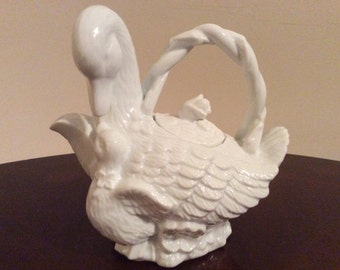 A Rare and Elegant White Swan with Her Cygnet Figurine Tea Pot.