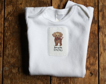 Year of the Dog 2018 Baby Garment Onesie, Chinese New Year, Infant Baby Short Sleeve, Sizes: 3-6 Month OR 6-12 Month