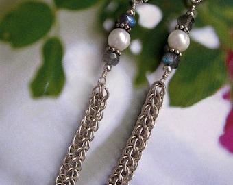 Sterling Silver Earrings Long Dangle Earrings, Handmade Sterling Silver Jewelry, Elegant Pearl Chain Maille Earrings