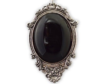 Black Cabochon in Pewter Frame Pendant Necklace Vampire Jewelry  NK-620B