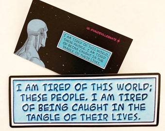 SECONDS SET Watchmen Dr. Manhattan Enamel Pin & Vinyl Sticker Decal Set Quote DC Comics Rorschach Moore Lapel Pin