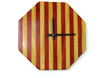 Wood Wall Clock, Geometric Wall Decor,  Ready To Ship, Father's Day Gift