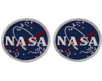 NASA Space Circular Logo Embroidered Iron On Patch - Blue - 2 Piece Pack