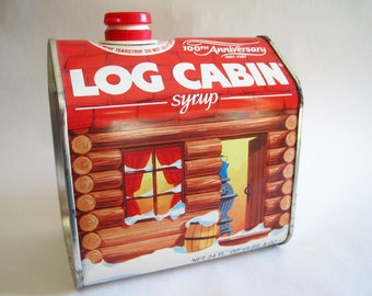 Log Cabin Maple Syrup 100th Anniversary Tin from 1987