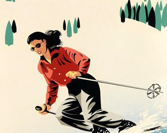 Ski Vermont  Lady Skiing Mountains American Winter Sport Vintage Poster Repro FREE SHIPPING