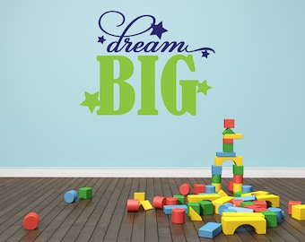 Playroom Wall Decal - Dream Big Wall Decal - Stars Wall Decal - Vinyl Lettering - Vinyl Wall Decal - Childrens Wall Decal