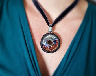 Jewelry Ceramic Ceramic Jewelry Ceramics Handmade Jewelry Pendant Raku Necklace Silk Ribbon Gift for Women Gift for Her Boho Laura Souder