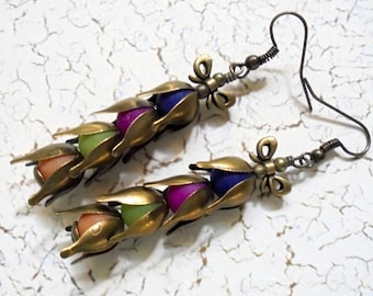 Navy Blue, Fuschia, Lime Green, Orange and Brass Boho Flower Earrings (3997)