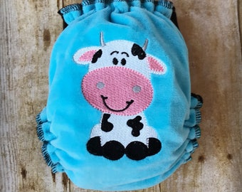 Moo Cow Embroidered One Size AIO AI2 Cloth Diaper ***READY To SHIP!***