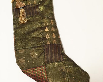 Patchwork Christmas Stocking, Elegant Christmas, Golden Green Christmas Stocking