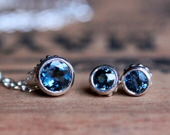 London blue topaz necklace earring set, December birthstone jewelry set, bezel jewelry, bridesmaid jewelry set, ready to ship Wrought