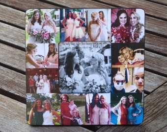 """Maid of Honor Collage Picture Frame, Personalized Sister Gift, Custm Bridesmaid Frame, Bridal Shower Gift Frame, Parent Gift, 8"""" x 8"""""""