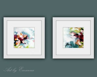 Printable Abstract Art, Instant Digital Download Art, Set of 2 Modern Wall Decor, Contemporary Art, Abstract Flower Painting, Square Art
