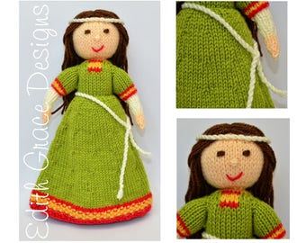 Medieval Toy Knitting Pattern, Medieval Doll Knitting Pattern, Medieval Dress, Knit Doll Yarn, Knit Toy Wool, Rag Doll Pattern, Amigurumi