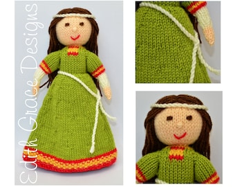 Doll Knitting Pattern - Medieval Doll - Knit Doll - Medieval Dress - Toy Knitting Pattern - Rag Doll - Amigurumi - Doll Making - Sewing