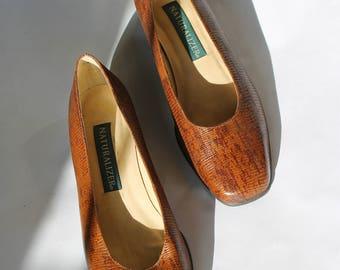 vintage 90s naturalizer pumps l brown leather pumps   leather heels   size 8 heels   90s snake skin heels   real leather shoes  Able Shoppe