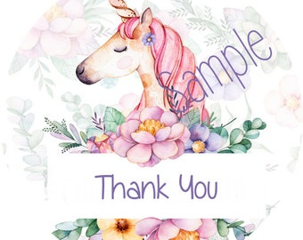 120 Big White Round Printed Unicorn Customer Thank You Stickers Seals Can be used on your Lula packages