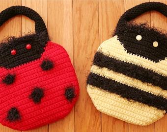 CROCHET PATTERN Easy Purse LADYBUG Bumblebee Cute Purse Handbugs
