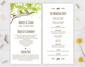 Country wedding programs printed on premium cardstock