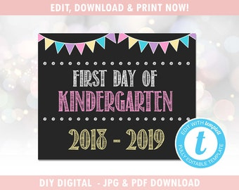 First Day of School Sign - Last Day of School Sign - 1st Day of School Sign - Instant Download, Editable Template [id:396672]