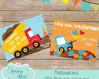 PERSONALIZED I Dig You Valentine Tag Printable Valentine Tag Digital File Construction valentines