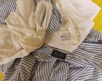 Mens undershirts/pajamas, vintage Marshall Fields stripe mens pajamas, Champion and Fruit of the Loom undershirts