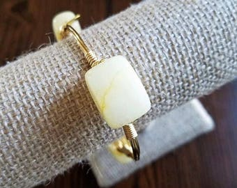 Italian Onyx Bangle, Cream Bangle, Cream Gemstone Bangle, Italian Onyx Gemstone, Stack Stone Bangle, Stackable Bangle, Onyx Jewelry, Spring