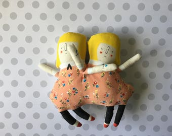 One left in stock -Olivia and Penelope Circus Sideshow Twins - sisters Plush Doll - ready to ship soft sculpture