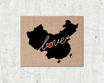 China Love - Burlap or Canvas Paper State Silhouette Wall Art Print / Home Decor (Free Shipping)