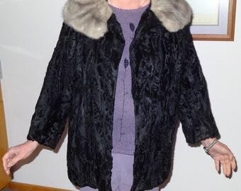 Black Lamb and Gray Fox Fur Jacket