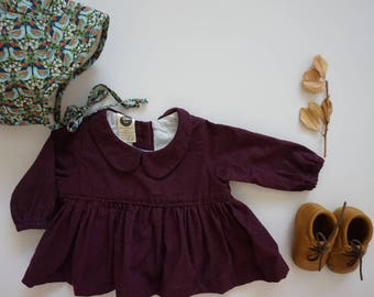 The Mabel Top-Infant Top, Baby Cotton Top, Peter Pan Collar,  Long Sleeve Top