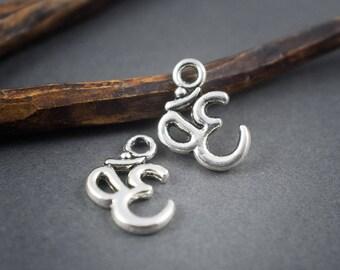 8 pcs - Ohm symbol pendant charm - silver openwork - ethnic, tribal, zen - 15 mm x 11 mm
