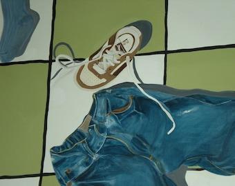 Trompe L'oeil checkered floorcloth