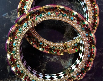 Rajwadi Bangles with Ruby Detailing